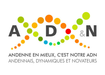 Logo AD&N avec slogan sur fond blanc original