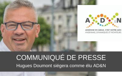 Hugues Doumont siègera comme élu AD&N