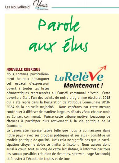 Extrait du bulletin communal de Yvoir