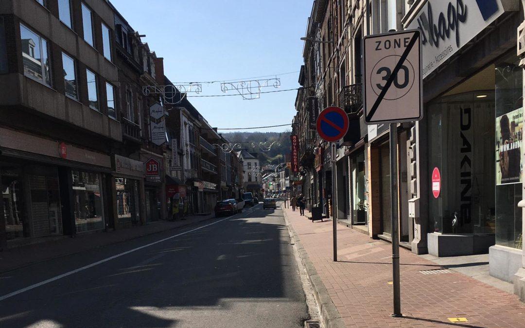 La rue Brun à Andenne en travaux